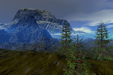 Mountain, a natural landscape, rocks, coniferous trees,  and clouds in the sky.