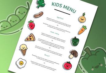 Restaurant Menu Layout with Cartoon-Style Illustrations