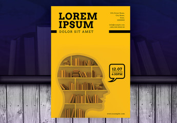 Yellow Poster Layout with Bookshelf Photo Element