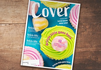 Magazine Cover Layout with Handwritten-Style Font Elements