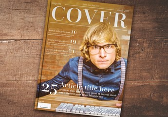 Magazine Cover Layout with Serif Font Elements