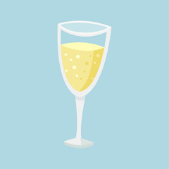 Glass of champagne. Blue background. Vector illustration EPS 10.