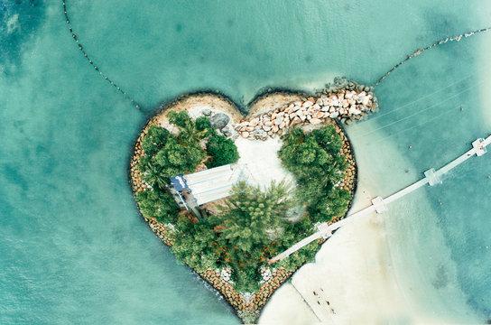bird's eye view of heart-shape island