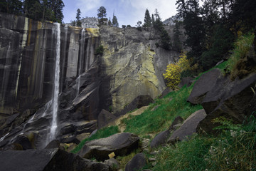Vernal falls along the Mist Trail in Yosemite National Park in autumn