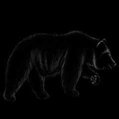 The Vector logo bear for tattoo or T-shirt design or outwear.  Hunting style bear background.