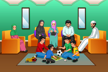 Muslim Family Playing in the Living Room