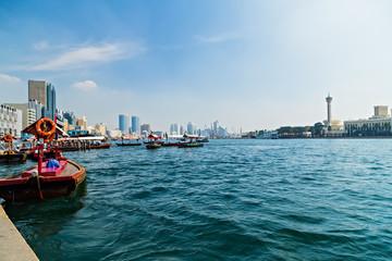 Dubai Creek motorized boat piers famous UAE.