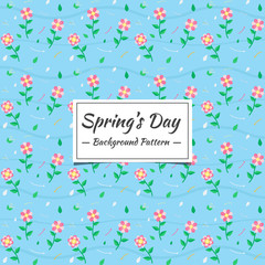 Spring Seamless pattern with flowers and small animals.  The motifs that are scattered randomly look beautiful. Elegant template for fashion prints.