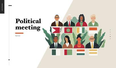 Technology 2 - Political meeting - flat vector concept digital illustration political meeting metaphor. Creative landing web page design template