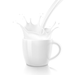 White cup with realistic splashes. Vector illustration isolated on white background. Ready for your design. EPS10.