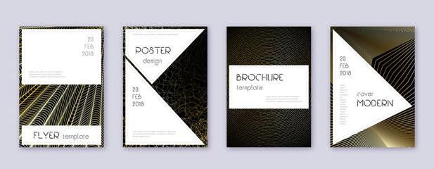 Stylish brochure design template set. Gold abstrac