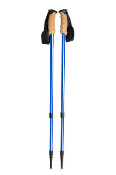 Nordic walking sticks isolated on white background. Recreation equipment concept