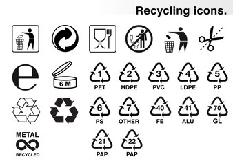 Set of icons for packaging and recycling. Vector elements. Ready for use in your design. EPS10