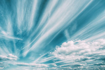 Blue And White Colours Natural Sky Abstract Background