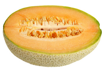 Half of melon isolated on white background