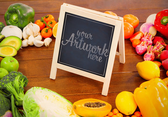 Small Chalkboard surrounded by Vegetables Mockup