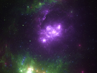 Starfield, stars and space dust scattered throughout the universe. Vast open interstellar space, cosmic abstract artwork. Glowing cloud nebula, interplanetary travel, astral artwork.