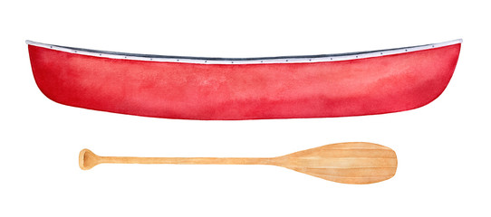 Red canoe and light brown paddle watercolor illustration set. Sport leisure, active vacations, summer relax equipment. Closeup. Handdrawn watercolour painting, cut out clipart elements for design.