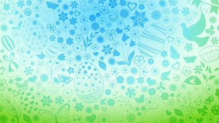 Background of eggs, flowers, cakes, hare, hen, chicken and other Easter symbols in light blue and green colors