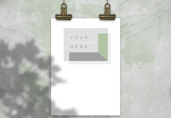 Hanging Poster with Binder Clips Mockup