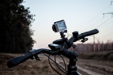 Action camera on the bike.