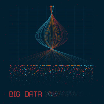 Abstract infographics visualization. Big data code representation. Futuristic network or business analytics. Graphic concept for your design