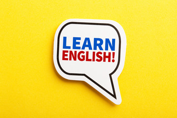 Learn English Speech Bubble Isolated On Yellow Background