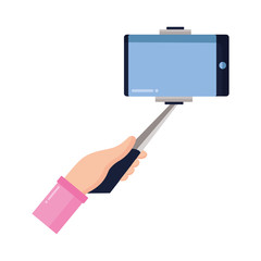 hand with cellphone in stick