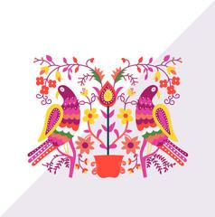 folk motif greeting card. ornamental decorative motif. folklore vector illustration. folk greeting card.