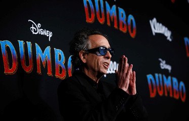 """Director Tim Burton poses at the premiere for the movie """"Dumbo"""" in Los Angeles"""