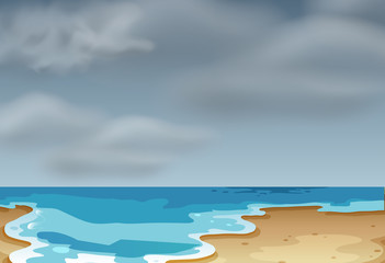 A cloudly beach scene