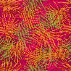 Colorful palm tree branches on abstract background. Seamless background. Vector illustration.