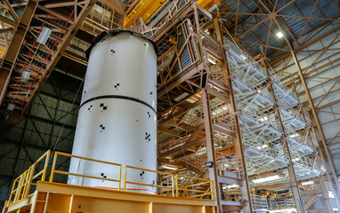 Solid rocket boosters for the Space Launch System will be stacked at NASA's Kennedy Space Center in Cape Canaveral