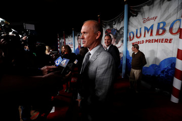 "Cast member Michael Keaton interacts with members of the media at the premiere for the movie ""Dumbo"" in Los Angeles"