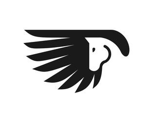 Pegasus logo vector. Stylized winged horse logo vector illustration.