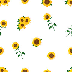 Yellow sun flower seamless pattern in white background with cartoon style