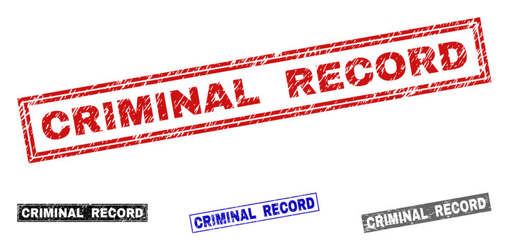 Grunge CRIMINAL RECORD rectangle stamp seals isolated on a white background. Rectangular seals with grunge texture in red, blue, black and grey colors.