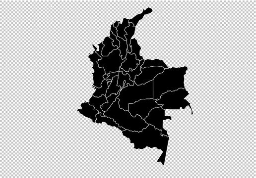 colombia map - High detailed Black map with counties/regions/states of colombia. Afghanistan map isolated on transparent background.