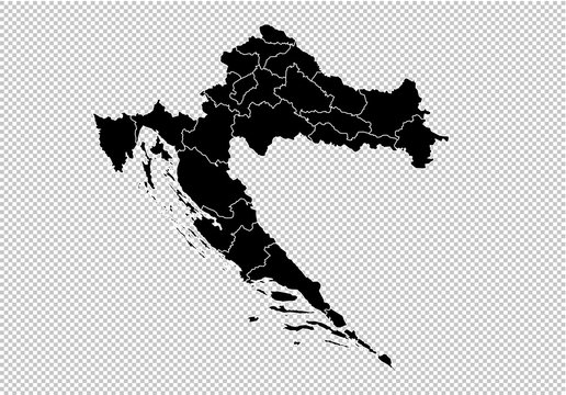 croatia map - High detailed Black map with counties/regions/states of croatia. Afghanistan map isolated on transparent background.