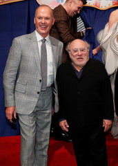 """Cast members Michael Keaton and Danny DeVito pose at the premiere for the movie """"Dumbo"""" in Los Angeles"""
