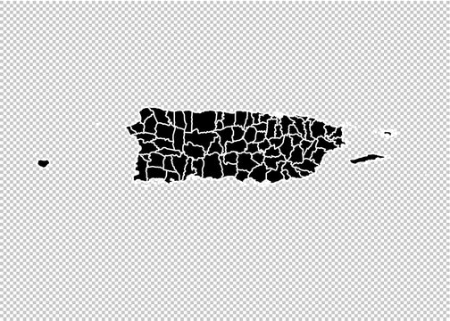 puerto Rico map - High detailed Black map with counties/regions/states of puerto Rico. puerto Rico map isolated on transparent background.
