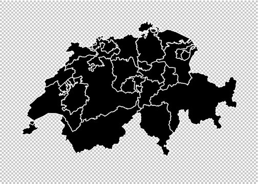 switzerland map - High detailed Black map with counties/regions/states of switzerland. switzerland map isolated on transparent background.