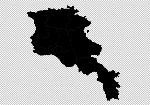 armenia map - High detailed Black map with counties/regions/states of armenia. Afghanistan map isolated on transparent background.