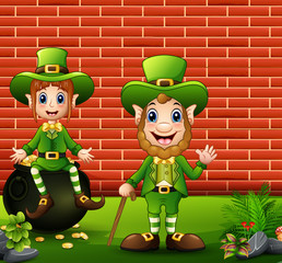Happy Saint Patricks day celebration with leprechauns boy and girl