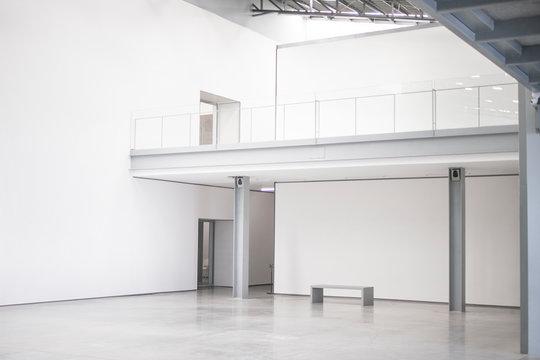 Blank white empty modern art gallery hall, open space