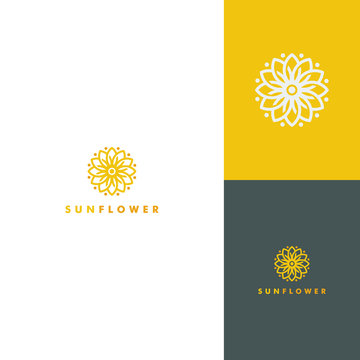 Sunflower logo Template, Nature icon design vector illustration
