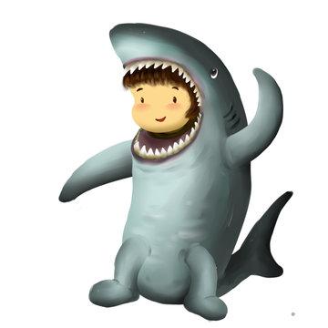 Illustration of kid in animal costume, kid in shark costume