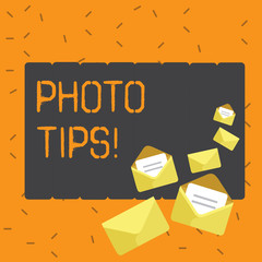 Writing note showing Photo Tips. Business concept for Suggestions to take good pictures Advices for great photography