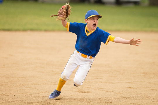 little boy playing baseball and celebrating