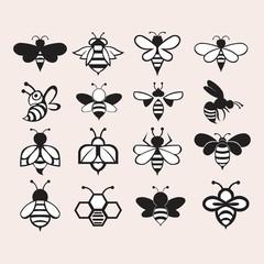 set of bee logo